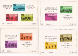 1968 Mexico, Mexico 1967 PreOlympic Issue Set 4 Miniature Sheets MNH - Summer 1968: Mexico City