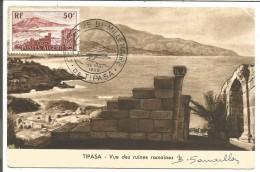 ALGERIE CARTE MAXIMUM (MAXIMUM CARD) 1955 TIPASA  SIGNE PAR LE GRAVEUR B. SARRAILLON - Algeria (1924-1962)