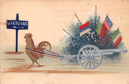 ¤¤  -   Carte Militaire Patriotique  -  Un Coq Tirant Un Canon  -  Drapeaux Des Alliés En Tissus  -  Victoire  -  ¤¤ - Patriottisch