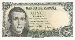 Spain (BDE) 5  Pesetas 1951 UNC Cat No. P-140a / ES606a - España