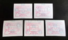 """Automatenmarken: Belgien - 5 X BELGICA 90 """"KOPFSTEHENDE ATM"""":N F. - Automatenmarken (ATM)"""