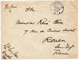 Togo : Lettre En Franchise Militaire De 1916 Pour La France - CaD Allemand D'Anecho Du 13/11 16 - Togo (1914-1960)