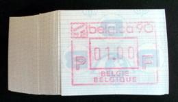 "Automatenmarken: Belgien - 100 X BELGICA 90 ""KOPFSTEHENDE ATM"":N F. - Vignettes D'affranchissement"