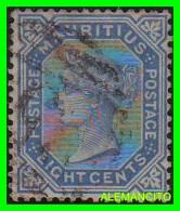 MAURICIO - MAURITIUS ( AFRICA ) SELLO AÑO 1879 EICHTCENTS BLUE - Maurice (1968-...)