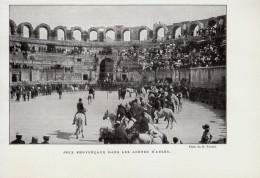 Vers 1900 - Iconographie Documentaire - Arles (Bouches-du-Rhône) - Jeux Provençaux Dans Les Arènes - FRANCO DE PORT - Zonder Classificatie