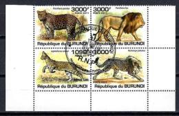 Burundi Animaux Félins (146) Série Complète De 4 Timbres Oblitérés Yv 1189 à 1192