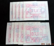 "Automatenmarken: Belgien - 5 X BELGICA 90 ""KOPFSTEHENDE ATM"": F + N. - Postage Labels"