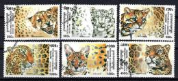 Animaux Félins Cambodge (148) Série Complète De 6 Timbres Oblitérés - Felini