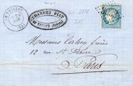 LE THILLOT : (VOSGES)  Gros  Chiffre 3938 + Cachet 17  Du 24 Novembre1871 - 1849-1876: Période Classique