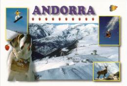 Souvenirs D'Andorre L'hiver, Chien St Bernard, Carte Postale Neuve, Non Circulée. - Andorra