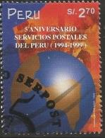 B)1999 PERU, WORLD, POSTAL, PERUVIAN POSTAL  SERVICES, 5TH ANNIVERSARY,  SC 1247 A566, S/S, MNH - Peru