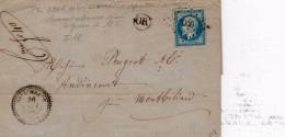 WISSEMBACHT : (VOSGES)  Petit Chiffre 3906 + Cachet 22 Du 26 Janvier 1858 + OR LAVELINE Prés De St Dié (88) - 1849-1876: Période Classique