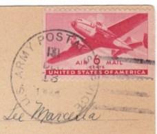 APO 131 US Military Postmark Cancel, 1944 France C1940s Vintage Postcard - Postal History