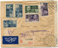 A. E. F. LETTRE RECOMMANDEE PAR AVION CENSUREE DEPART BANGUI 1 NOV 39 OUBANGUI-CHARI POUR L'ALGERIE - Brieven En Documenten