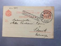 HUNGARY  POSTAL STATIONERY   DUGOSELO  DUGO SELO CROATIA  1908.   RAILWAY CANCEL.  NAGY KANISZA - SLAV. BROD