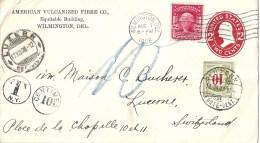 """GS  """"American Vulcanized Fibre Co., Wilmington DEL""""  (taxiert)              1908 - Interi Postali"""