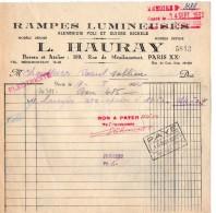 VP5204 - Facture - Rampes Lumineuses A.HAURAY à PARIS Rue De Ménilemontant - Electricity & Gas