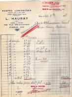 VP5205 - Facture - Rampes Lumineuses A.HAURAY à PARIS Rue De Ménilemontant - Electricity & Gas