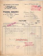 VP5207 - Facture - Les Appareils D'éclairages ¨SCLAIR¨Pierre MADEC à PARIS Rue De La Réunion - Electricity & Gas
