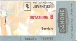 CALCIO BIGLIETTO JUVENTUS - DOTAZIONE B   1994-95 - Biglietti D'ingresso