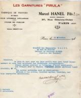 VP52013 - Facture - Les Garnitures ¨PIRULA¨ Marcel HANEL Fils & Cie à PARIS Rue Etienne Dolet - Electricity & Gas