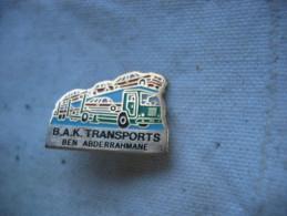 Pin´s Camion Remorque, Transports De Voitures. BAK Transports, Ben Abderrahmane - Transportation
