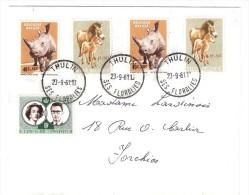 Lettre De THULIN SES FLORALIES, Belgique Yvert N° 1182 RHINOCEROS BLANC + N° 1183 Cheval De PRZEWALSKI, 1961 TB - Rhinozerosse
