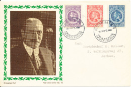 Denmark FDC 26-9-1945 King Christian X 75th Birthday Complete Set Of 3 With Nice Cachet (hinged Marks On The Cover) - FDC