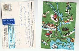 SWEDEN Stamps COVER (postcard KALIX MAP, MOOSE , FISH, SNOWBOARDING Sport, MOUNTAINEERING) - Sweden
