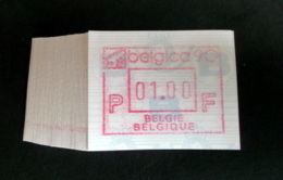 """Automatenmarken: Belgien - 100 X """"BELGICA 90"""": N F. - Postage Labels"""