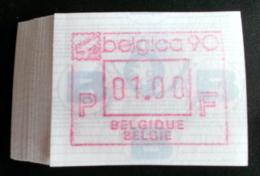 """Automatenmarken: Belgien - 50 X """"BELGICA 90"""": F N. - Postage Labels"""