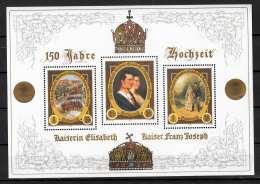 ÖSTERREICH 1,50 + 1,75 + 1,25 € BLOCK ** 150 Jahre Hochzeit Kaiserin Elisabeth Und Kaiser Franz Josef - Blocks & Kleinbögen