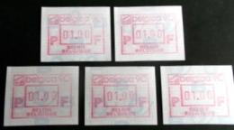 """Automatenmarken: Belgien - 5 X """"BELGICA 90"""": N F. - Postage Labels"""