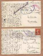 """2 X Censor Cancel WWI War """"ON ACTIVE SERVICE"""" FRANCE 1917. Set Of 2 Postcards FRANCE - Poststempel (Marcophilie)"""
