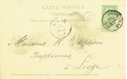 Entier Postal Armoiries COURTRAI 1902 Vers LIEGE - Cachet Privé JACQUES DELAERE-BAEKELANDT Imprimeur-libraire - Entiers Postaux