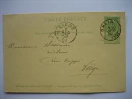 Entier Postal Armoiries GHLIN  1902 Vers LIEGE - Signé Les Frères De GHLIN-LEZ-MONS - Entiers Postaux