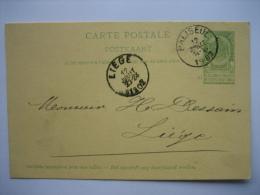 Entier Postal Armoiries PALISEUL 1902 Vers LIEGE - Signé L. DIEZ  Instituteur à FRAMONT - Entiers Postaux