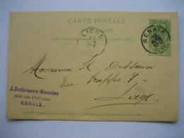 Entier Postal Armoiries RENAIX 1903 Vers LIEGE - Cachet Privé J. DE GRAEVE-MEUNIER à RENAIX - Entiers Postaux
