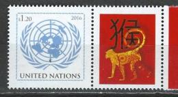 UN-New York. Scott # 1126 MNH Personalized Stamp With Label. Lunar Year Of The Monkey  2016 - New-York - Siège De L'ONU
