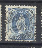 N°93a    Bleu Clair  (1905) Filigrane Croix               Impression Partielle  Du Cadre - 1882-1906 Wappen, Stehende Helvetia & UPU