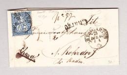 Heimat Schweiz AG BREMGARTEN 21.12.1864 Chargé Brief Nach N'Rohrdorf Mit 10Rp Sitzende - 1862-1881 Helvetia Assise (dentelés)