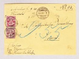 Heimat Schweiz AG ARNI-ISLISBERG Langstempel BREMGARTEN 22.5.1893 Auf Brief Vorderseite Mit 5 Und 10Rp WZ - 1862-1881 Helvetia Assise (dentelés)