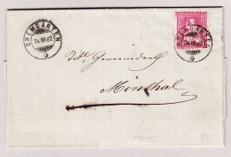 Heimat Schweiz AG BREMGARTEN 24.3.1882 Mit 10Rp Sitzende Brief Nach Mönthal - 1862-1881 Sitzende Helvetia (gezähnt)