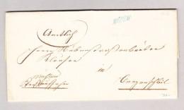 """Heimat Schweiz AG MÜHLAU Langstempel Blau Auf Amtsbrief 21.2.1856 """"Strassenaussetzer Des Bezirks Muri"""" - 1862-1881 Helvetia Assise (dentelés)"""