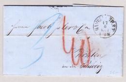 Heimat Schweiz AG Wohlen 18.6.1861 AK-ST + Zug 14 Aarau-Winterthur Auf Brief Aus Hamburg - 1862-1881 Helvetia Assise (dentelés)