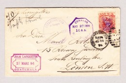 Guatemala 10 Centavos 16.4.1896 South Kensigton Brief Nach London Mit AK Und Transit Stempel - Guatemala