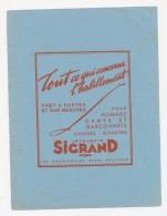 Publicite - Buvard - SIGRAND - Vetements Prets à Porter Sur Mesure - Textile & Vestimentaire