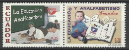 ECUADOR 2002 UPAEP LITERACY CAMPAIGN PAIR MNH - Ecuador