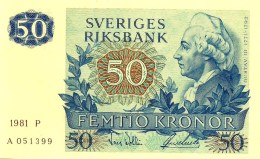 SWEDEN 50 KRONOR BLUE MAN  FRONT MAN BIRD BACK DATED 1981 P53c UNC READ DESCRIPTION !! - Suède