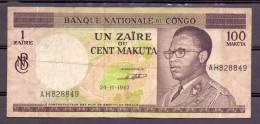 Congo  1 Zaire 100 Makuta 1967 VF - République Démocratique Du Congo & Zaïre